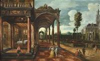 blick in den lustgarten eines renaissancepalastes mit loggia by hans jurriaensz van baden