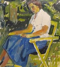 femme assise à la jupe bleue by edmond bille