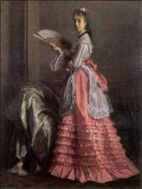femme à l'éventail by edouard agneessens