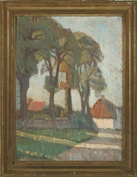 scenery with a farm by georg jacobsen