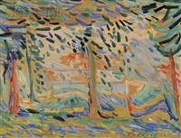 landscape with trees by emile sabouraud