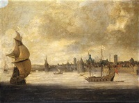 capriccio view of a dutch coastal town with english shipping by abraham de verwer