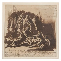 study for defaite des gantois a rosbecque - morte d'artevelt by paul hippolyte delaroche