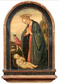 madonna in adorazione del bambino e san giovannino by jacopo del sellaio