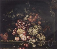 still life of grapes and peaches in an alcove by andre arkhipov