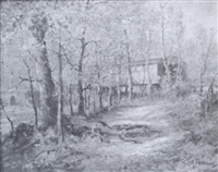 covered bridge - wissahickon at chestnut hill by george a. newman