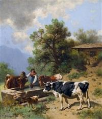 alpszene mit kühen an der tränke by conrad bühlmayer