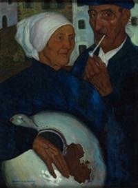 pareja de aldeanos by valentín de zubiaurre