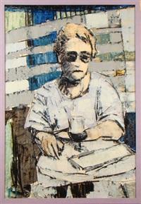 homme assis devant un verre by pierre fievet