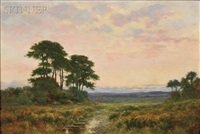 river landscape, sunset by william stanley haseltine