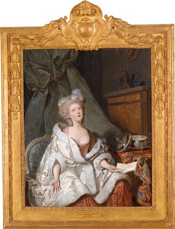 eine aristokratische dame in einem interieur by pierre alexandre wille