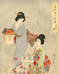 ensemble de 14 triptyques et un diptyque de la série «dames de compagnie du palais chyioda» (set of 14) by toyohara chikanobu