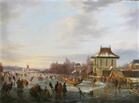 extensive winter landscape with numerous figures on a frozen lake by a pavillion by frans arnold breuhaus de groot
