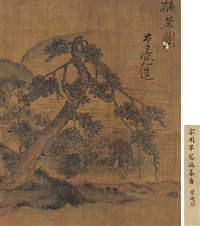 painting of picking tea leaves by zhou mi