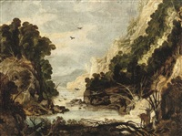 a rocky river landscape with hunters and deer by joos de momper the elder