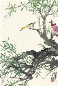 黄鹂桃花 by xu chunyuan