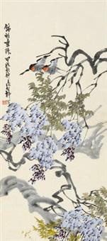 紫藤双燕 立轴 设色纸本 by liu bin
