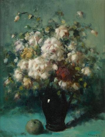 vase fleuri de roses by martin bolle