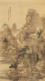秋山萧寺 (landscape) by dai zhennian