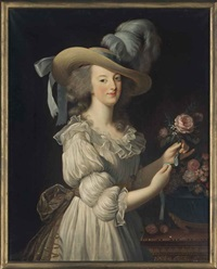 portrait of marie antoinette, queen of france (1755-1793), half-length, in a white dress and hat, beside a table with flowers in a sculpted urn by elisabeth louise vigée le brun