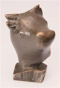 2 skulpturen: kuhkopf und kalb by rudolf christian baisch
