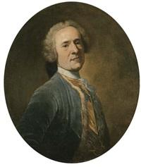 ritratto di gentiluomo, a mezzo busto, in abito blu (+ ritratto di dama, a mezzo busto, in abito di broccato e gioielli di perle; 2 works) by giuseppe baldrighi