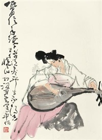 琵琶行 (beauty playing chinese lute) by liu huaishan