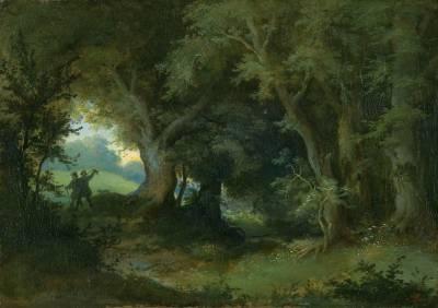zwei wanderer in waldiger landschaft by heinrich woldemar rau