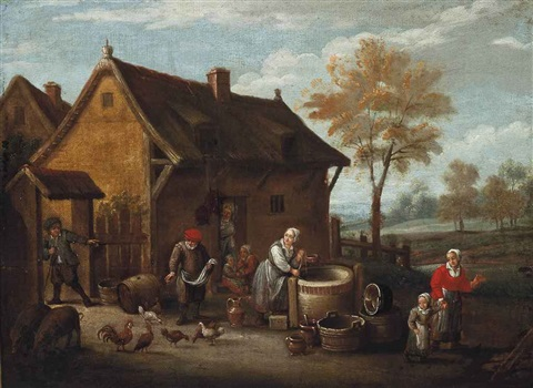 peasants by a well before an inn by david teniers the younger