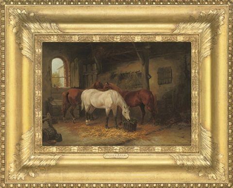 three horses in a stable by julius adam unattributable