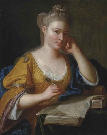 portrait of a lady half length in a yellow dress and blue wrap seated at a writing table a quill in her right hand by anton graff
