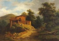 paysans et bergers à la chaumière by nicolas-victor fonville