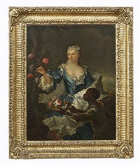 portrait of a lady, three-quarter length, in a blue dress standing by an urn of flowers with attendant by nattier