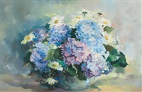 still life with hydrangeas and daisies by ruth squibb