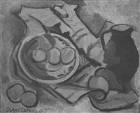 stilleben mit apfelsinen und braunem krug by grete csaky-copony