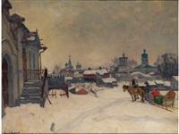 winter in einer (russischen) kleinstadt by arnold borisovich lakhovsky