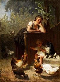 hühnerhof mit geflügelwärterin by carl rohde