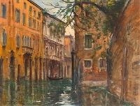 palazzi an einem venezianischen kanal by joseph saint-germier