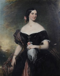 portrait of a lady wearing a cashmere shawl before a landscape by james godsell middleton