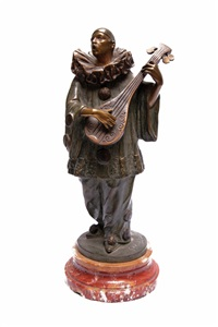 singender pierrot mit mandoline by george van vaerenbergh