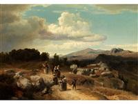 sonntagsspaziergang in der römischen landschaft by oswald achenbach