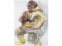 untitled - inuit man smoking a pipe by kathleen daly pepper