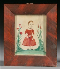 portrait of a girl in a garden wearing a red dress by jane anthony davis