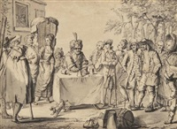 a conjuror performing with cups and balls at a table to an outdoor audience by marc antoine bilcoq