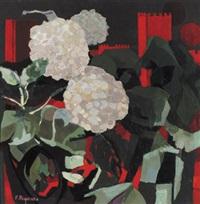 hortensienblüten vor roter burg by primo pegoraro