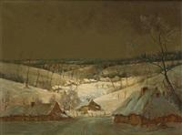 paysage hivernal enneigé by karel de bauw