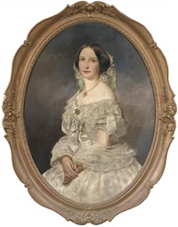 portrait of a lady wearing a white dress by joseph hartmann