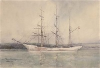 a norwegian barque lying in falmouth harbour by eyres simmons
