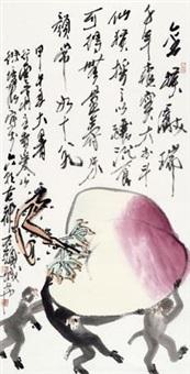 献寿图 镜心 纸本 by xu peichen