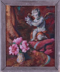still life with cherub and flowers by felix albrecht harta